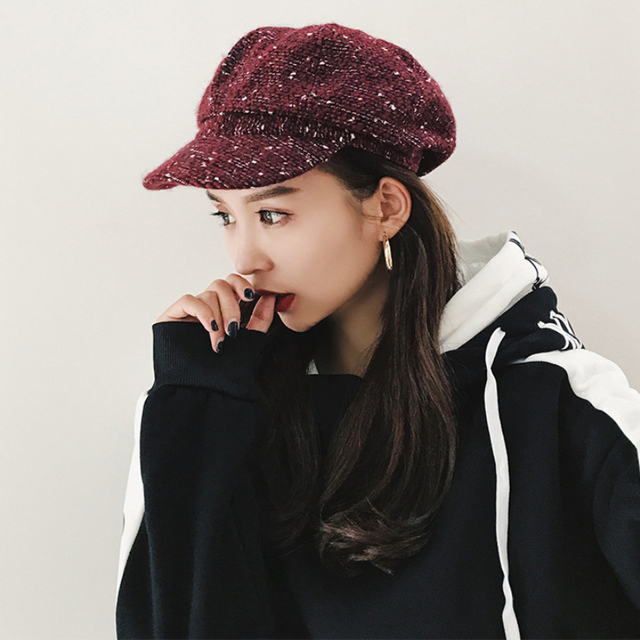 e826d62292af0 HT1911 Autumn Winter Hats Women Casual Knitted Female Berets Retro Artist  Painter Women Beret Hats Ladies Octagonal Newsboy Caps