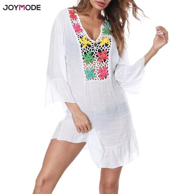 c9cee67700570 JOYMODE Beach Cover Up Hollow Crochet Pareos Swimsuit Beach Dress Women  2018 Summer Robe De Plage Bathing Suit Beach Wear Tunic