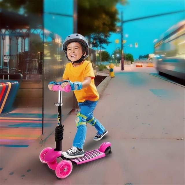2fed695d9d7c ANCHEER 3-Wheel Kick Scooter Children Foot Scooters Adjustable Height Kids  Scooter Bike with LED Light Up Wheels kids skateboard