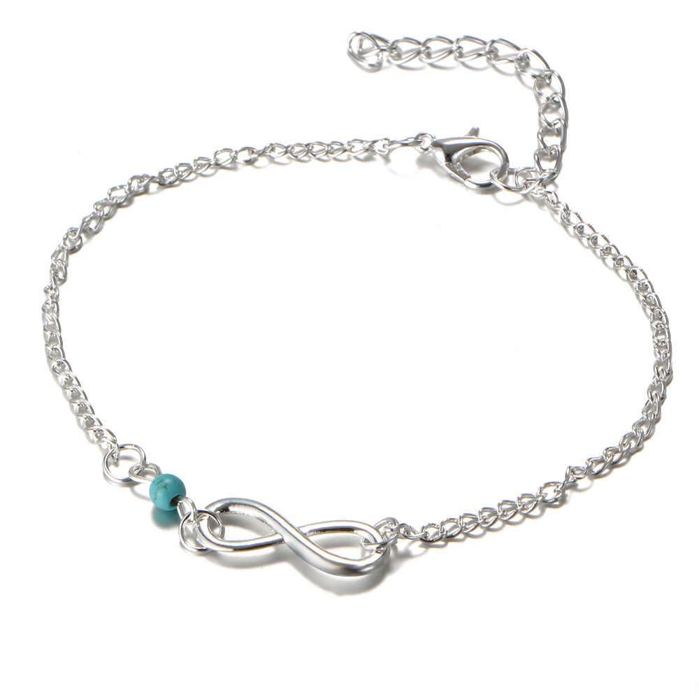 Vô hạn Trang Sức Đôi Pendant Charm Bracelet Ladies Summer Vòng Chân Thời Trang Quà Tặng Đồ Trang Sức Chúc May Mắn 8 Nhân Vật Đính Cườm Vòng Chân