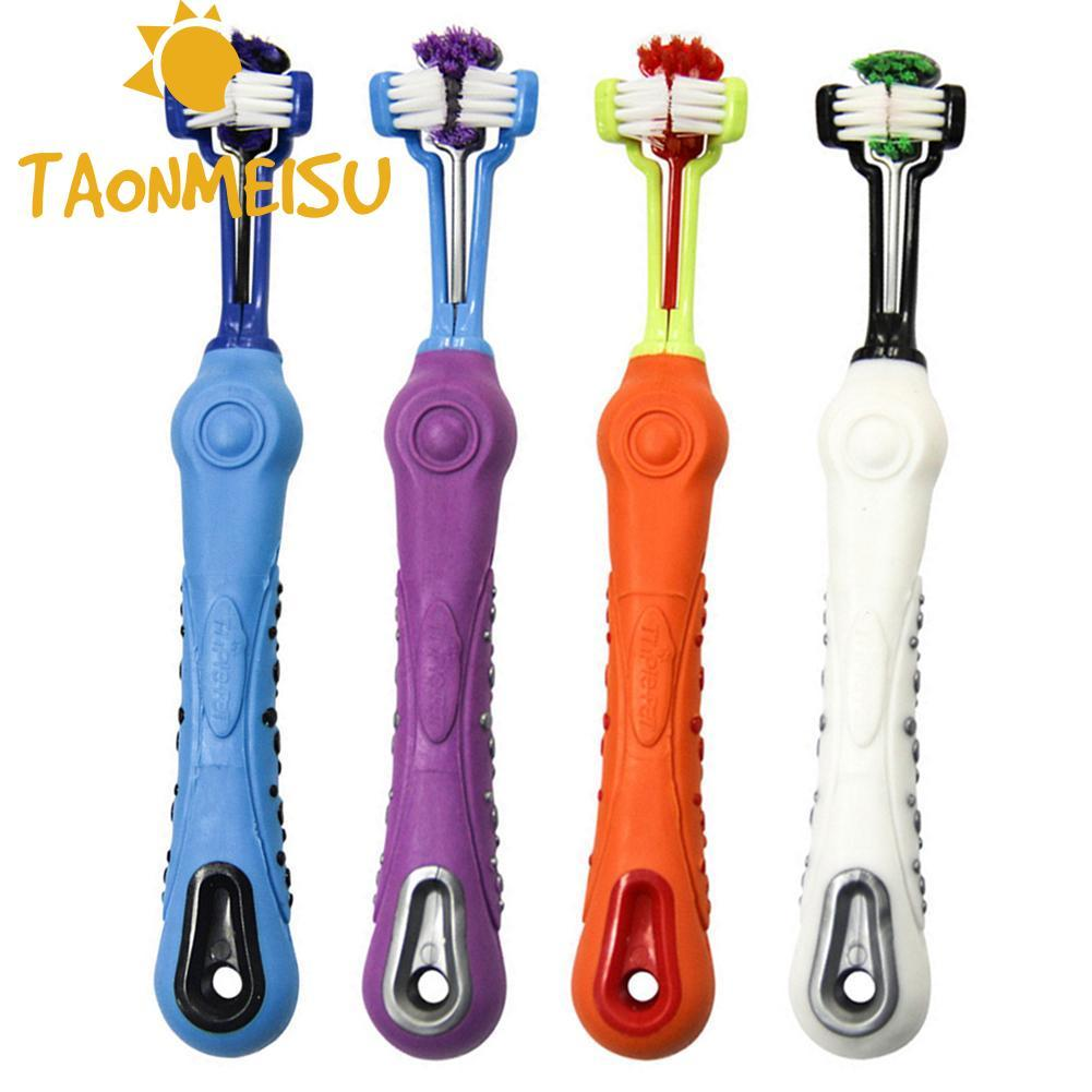 New arrival Three Side Pet Toothbrush Dog Brush Multi-angle Cleaning Removing Dental Calculus Teeth Care Dog Cat Cleaning Mouth