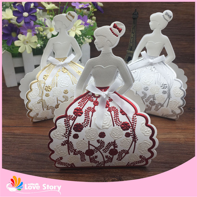 Wedding Party Favor Ideas: 25pcs Elegant Girl Birde Candy Box Wedding Favor Box