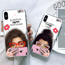 BFF Case Fashion Selfie girl High quality Soft TPU Silicone Phone Cover Case For iPhone X 10 6 6S Plus 7 8 Plus 5S SE XS MAX XR for iphone xs max selfie stick for iphone 7 8 plus x xr selfie wired palo selfie mirror for iphone 6 6s plus 5s se for lightning