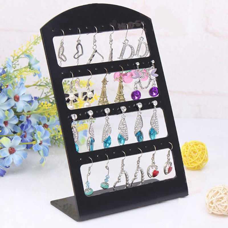 48 ثقوب مجوهرات المنظم رف حامل بلاستيك أسود حاملات القرط تخزين عرض Pesentoir رف شاشة الموضة Etagere