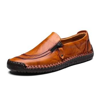 Zapatos de cuero genuino de alta calidad con banda elástica diseño de moda zapatos de hombre cómodos de tenacidad sólida tallas grandes 38- 45