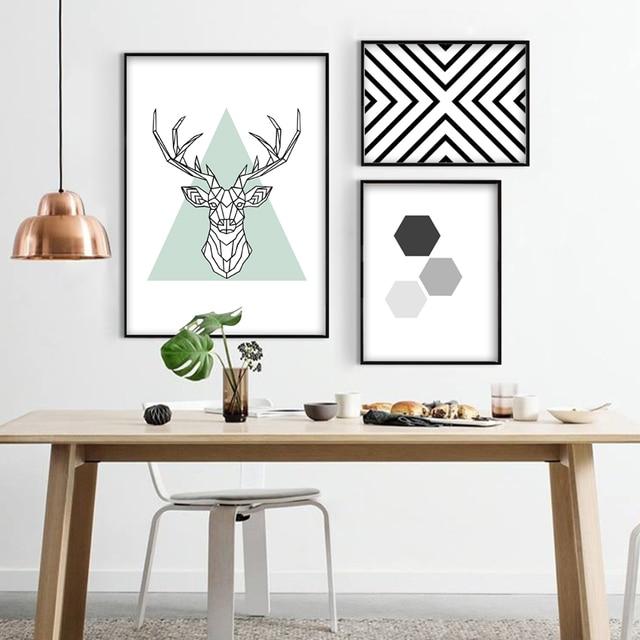 Très Style nordique Abstrait Toile Peinture Affiche de Géométrique Cerf  KC36