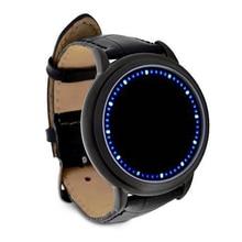Wholesale5pcs * Синий СВЕТОДИОДНЫЙ Сенсорный Экран Смотреть Мода Мужская, Мягкая Кожа Смотреть