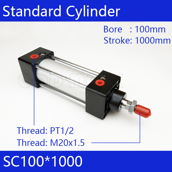 SC100*1000 Free shipping Standard air cylinders valve 100mm bore 1000mm stroke single rod double acting pneumatic cylinder sc125 1000 free shipping standard air cylinders valve 125mm bore 1000mm stroke single rod double acting pneumatic cylinder