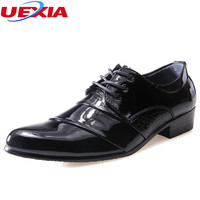 UEXIA Leather Men Dress Pointed Toe Shoes Soft Cow Leather Shoes Men Full Grain Leather Business