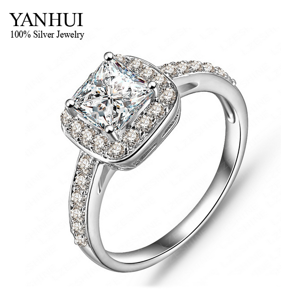 Yanhui Fashion Real 24k White Gold Filled Wedding Rings For Women With 1 5 Carat Cz Diamant