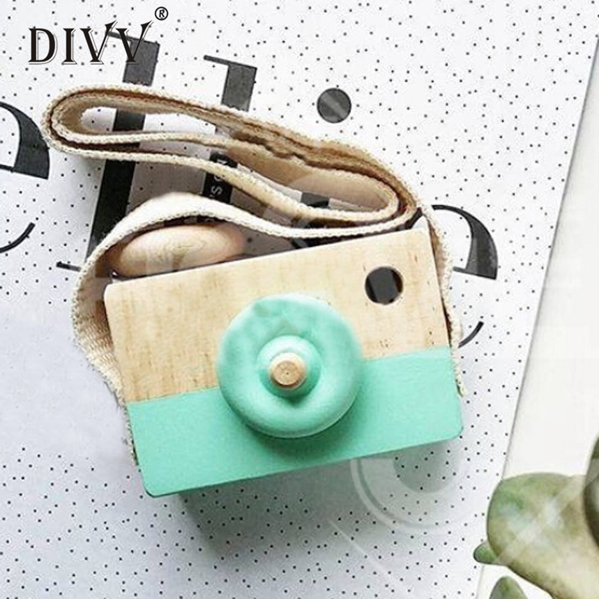 DIVV Top Grand Baby Kids Cute Wood Camera Toys Children Fashion Clothing Accessory Safe And Natural Toys Gift Decor 1Pc Dropship