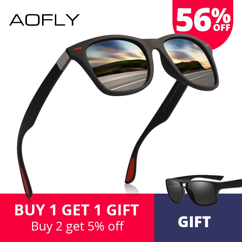 a8f5f6f8539e AOFLY BRAND DESIGN Classic Polarized Sunglasses Men Women Driving Square  Frame Sun Glasses Male Goggle UV400