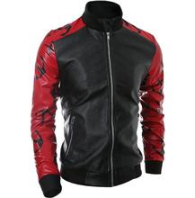 Hot sell 2016 spring autumn stand collar motorcycle leather jacket men splice fashion slim men leather clothing coat outerwear