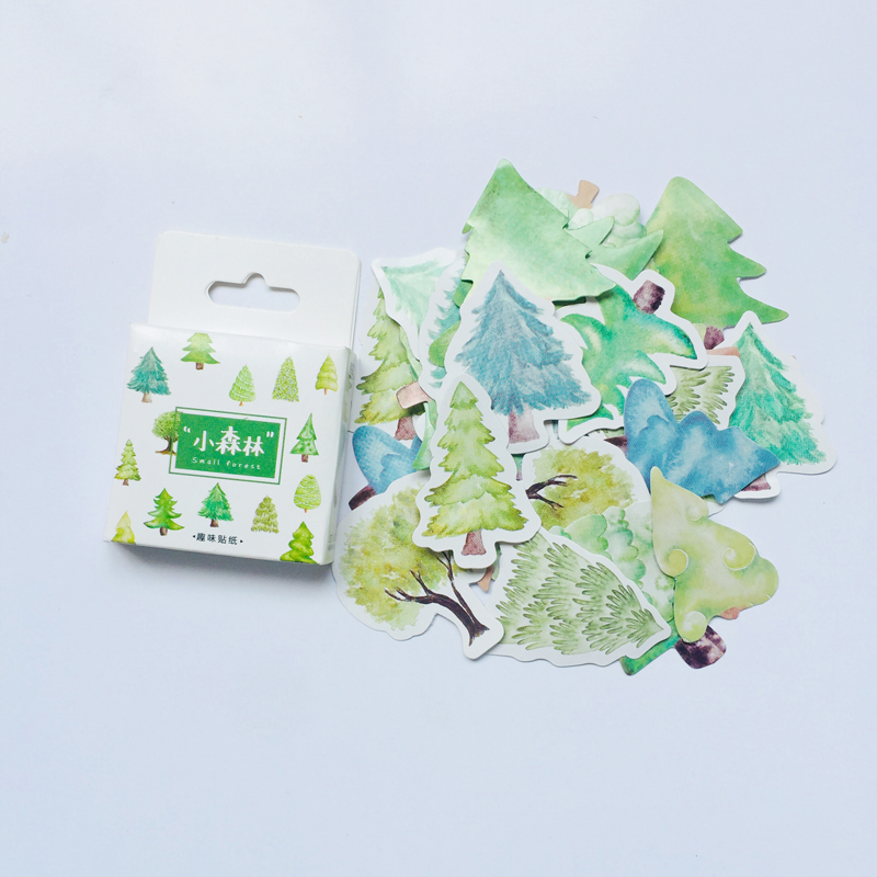 45pcs /Box Green Tree Forest Decorative Stickers DIY Stick Label Notebook Decor