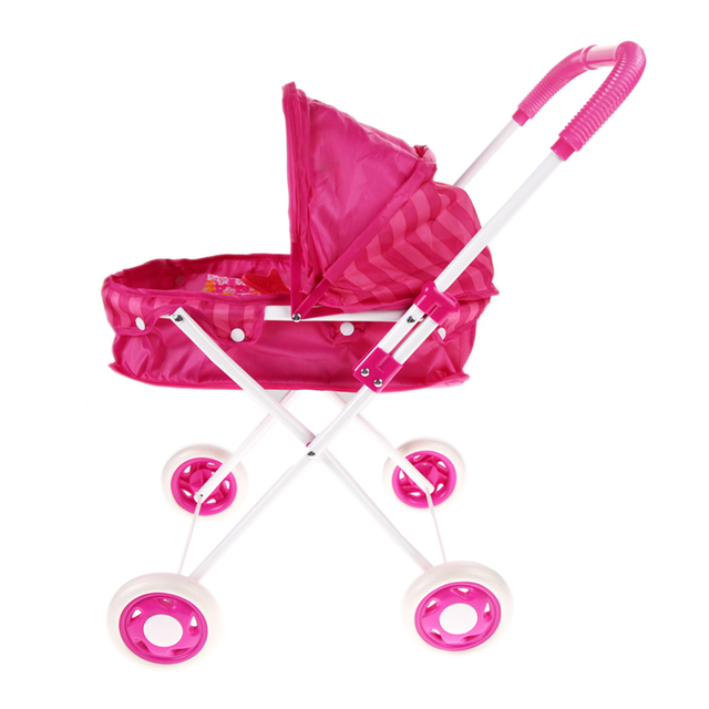Pink Cute Iron Stroller Pushchair Pram Foldable Girls Toy Doll Pram without Doll
