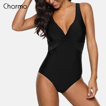 Charmo Women retro One-Piece High Waist Swimwear Front Cross Swimsuit Sexy Bodysuit Solid Ruched Monokini deep-V deep neckline