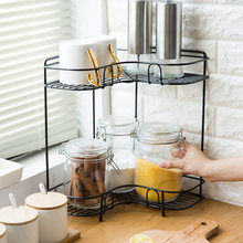 цена Simple Kitchen Rack Double Corner Metal Spice Rack Toilet Turn Corner Rack онлайн в 2017 году