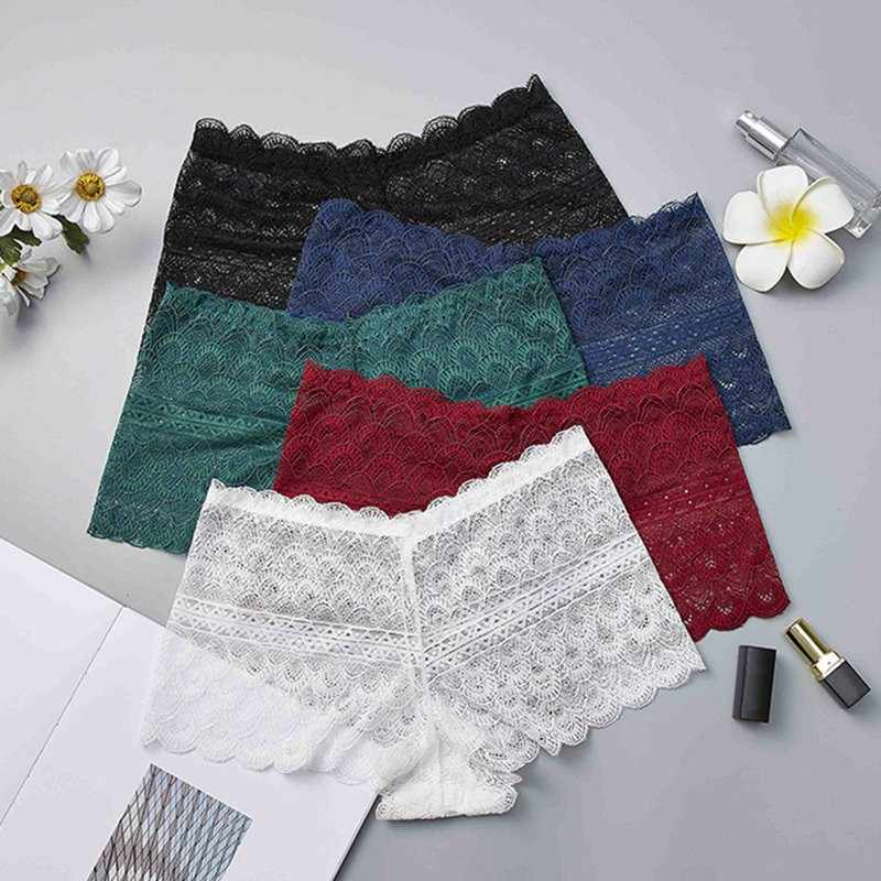 Plus Size Women Soft Seamless Lace Safety Short Pants Summer Under Skirt Shorts Hollow-out Breathable Short Tights New