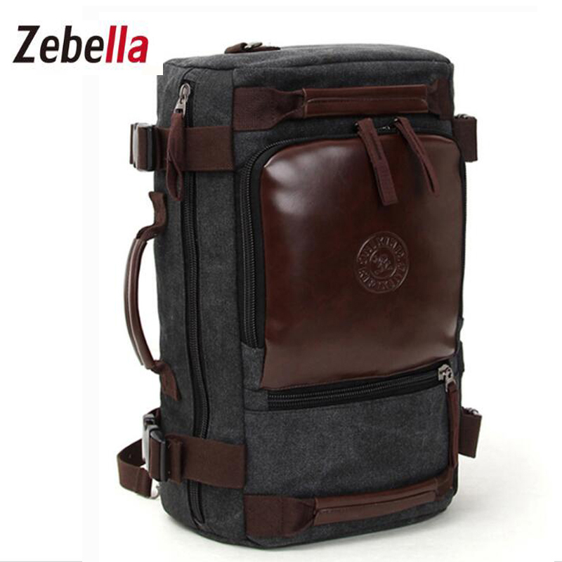 Zebella Fashion Canvas Men Backpacks Large Capacity Teenager Male Travel Casual Bags Luggage Shoulder Functional Versatile Bag zebella travel high quality pu leather men backpack big capacity waterproof functional male backpacks school teenager men bags