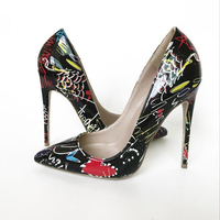 Hot 2019 Graffiti Stiletto Scarpin Party Wedding Dress Shoes Patent Leather Women High Heels 10cm 12cm Woman shoes Pack with Box