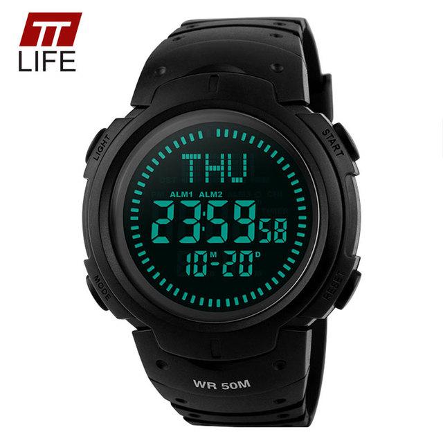 TTLIFE Brújula Reloj Hombres Deportes Al Aire Libre Escalada Relojes de Alarma de luz de Fondo Digital 50 M Resistente Al Agua para Los Hombres VS ts02