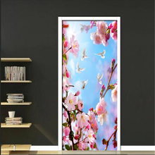 3D Pink Peach Tree Branch Pattern Door Stickers Living Room Door Decals PVC Self-adhesive Wall Sticker Waterproof 3D Wall Papers sparkling christmas tree pattern door art stickers