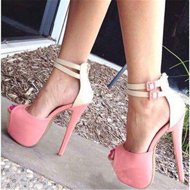 Pós livre 2016 novos modelos de moda de camurça cor de rosa, branco de couro com um salto, 15 cm alto-sandálias de salto alto. tamanho: 35-43