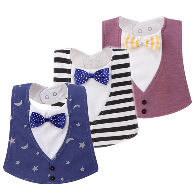 b807f665b New Fashion Waterproof Baby Boy Tuxedo Bibs Dinner Feeding Bib Saliva Towel  Gentleman baberos Cotton Baby Bibs
