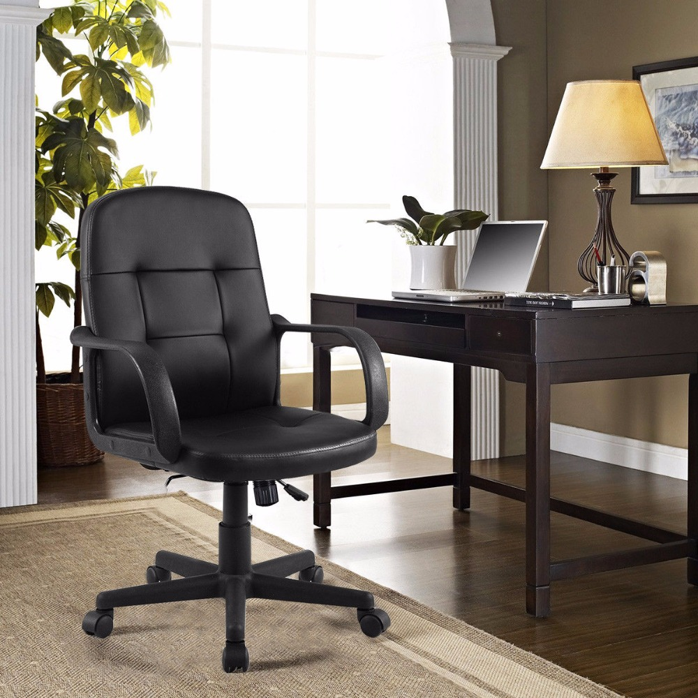 Giantex PU Leather Ergonomic Gaming Chairs Modern Midback ...