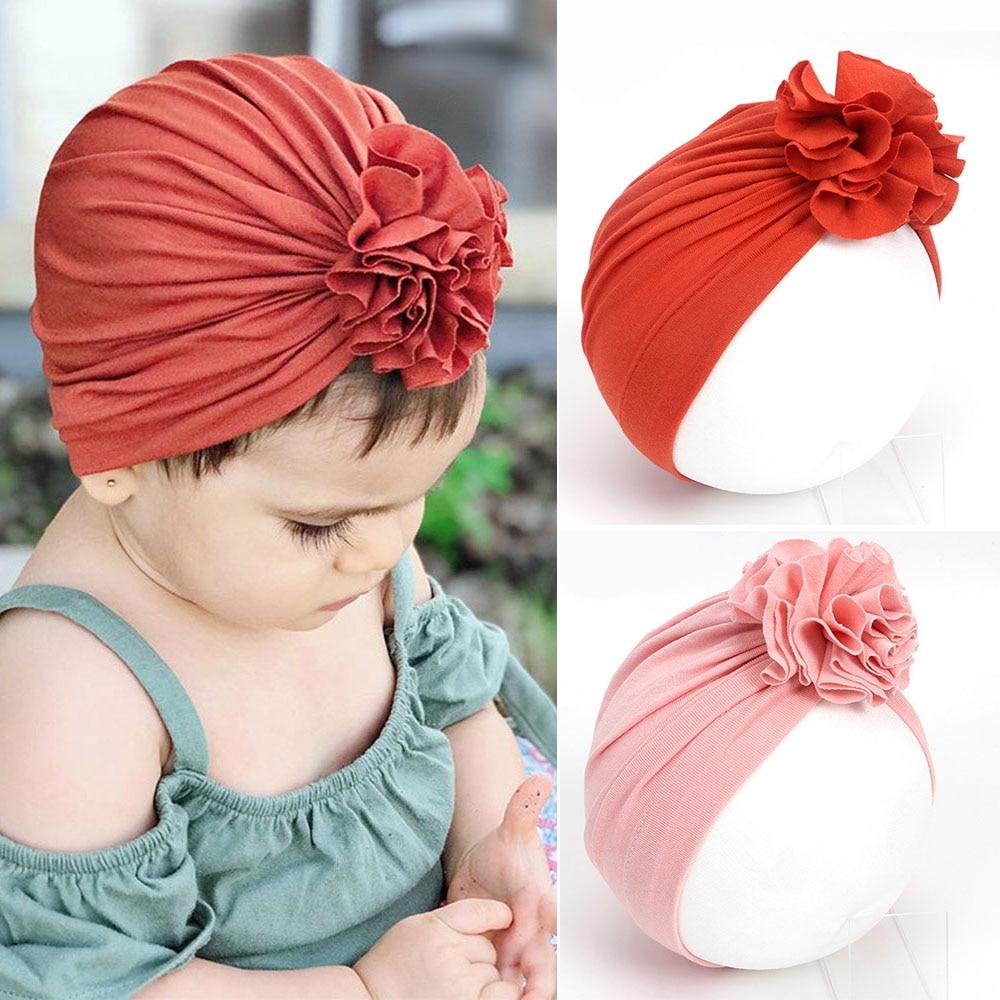 New Baby Beanies Hat Flower Cotton Hat Caps For Newborn Baby Girls Children Elastic Turban Head Wraps Cap