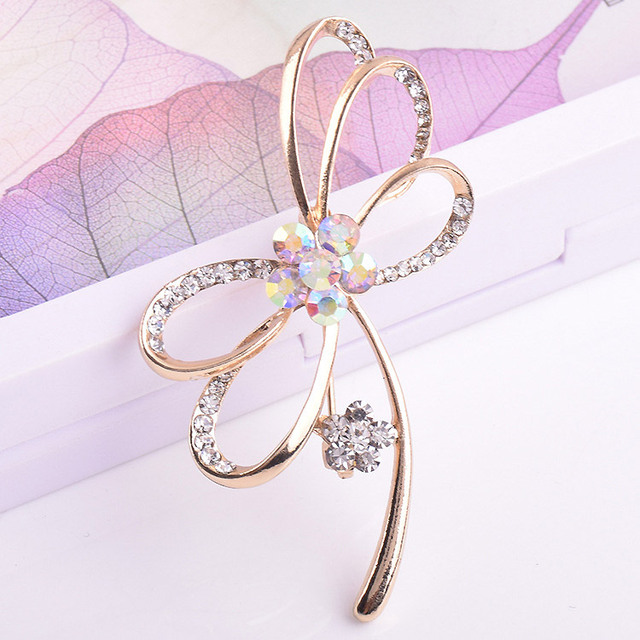 Crystals Flower brooches women pins