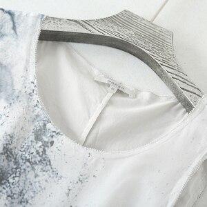 Image 3 - Sukienka kobiety 100% tkanina jedwabna line spadek talii projekt O Neck bez rękawów Sashes 2 kolory elegancka długa suknia moda 2019