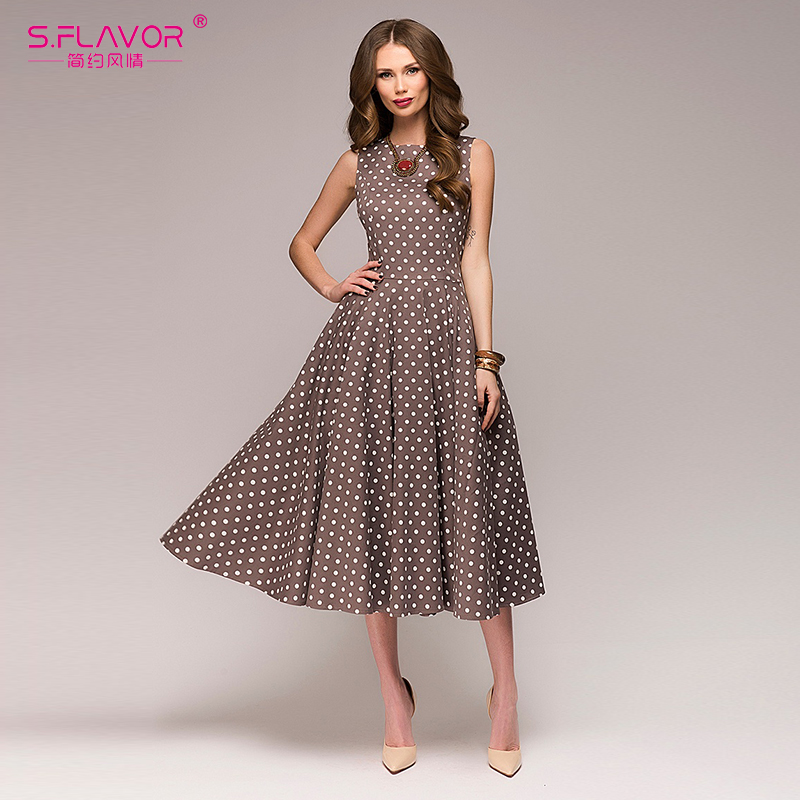 S. GESCHMACK Vintage kleid 2018 Sommer Neue sleeveless Oansatz vestidos Frauen elegante dünne dot druck Mitte Der Wade casual kleid Weibliche