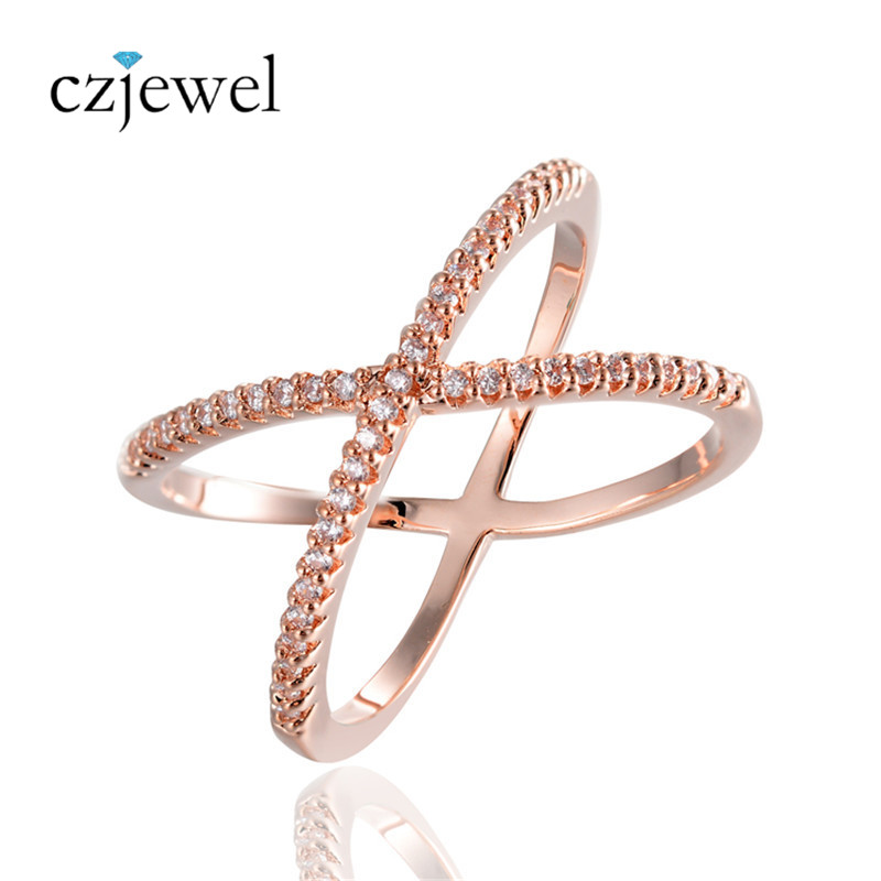 Fashion Gold/Rose Gold Color Micro Pave Setting Zircons Finger Rings For Women Cross Ring Party Jewelry Anillos