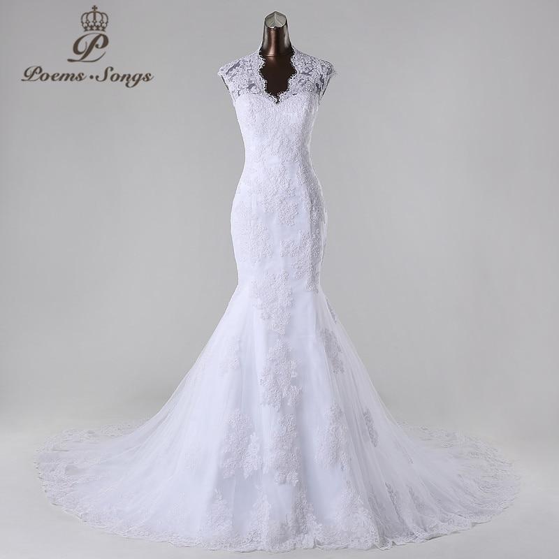 PoemsSongs2017New style high quality custom made mermaid wedding dress white ivory vestido de noiva brides dress