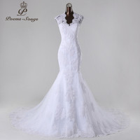 PoemsSongs2017New Style High Quality Custom Made Mermaid Wedding Dress White Ivory Vestido De Noiva Bridesmaid