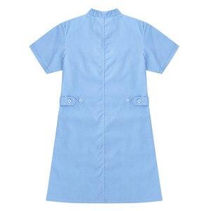 Image 2 - Womens Dress Korte Mouwen Opstaande Kraag Schuine Knop Front Jas Vrouwelijke Femme Uniform Jurk