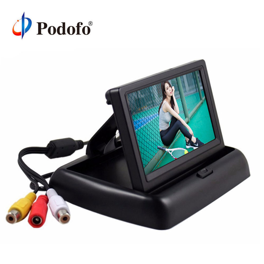 "Podofo 4.3""  HD Foldable Car Rear View Monitor Reversing Color LCD TFT Display Screen for Truck Vehicle Backup Rearview Camera"