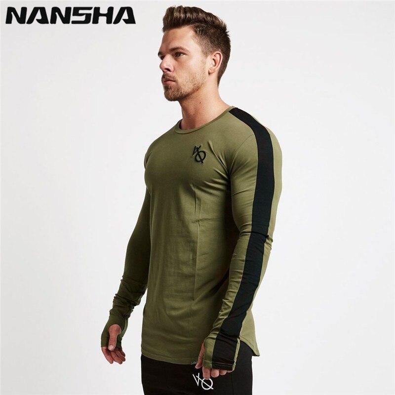 NANSHA Men   T     Shirt   Long Sleeve Patchwork O Neck   T  -  shirt   VQ 95% Cotton Tees Tops Mens Fitness Brand Tshirt Men Gyms Clothing