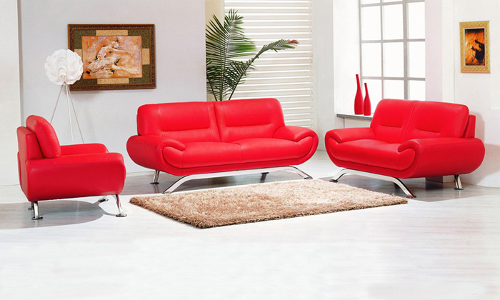 High Quality Free Shipping 2013 New Genuine Leather Modern Sectional Sofa Set, 123 Chair  Love Seat U0026 Sofa European Style Sofa Red L9078
