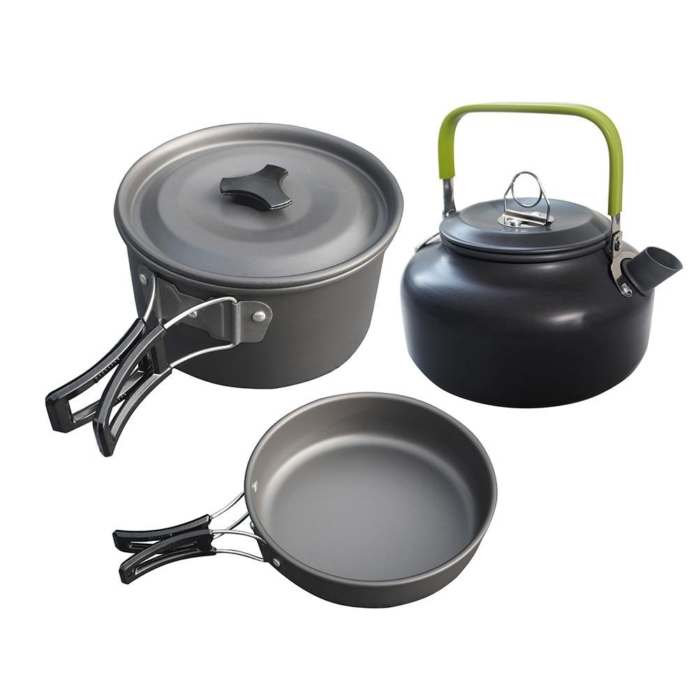 3Pcs/Set Ultra-light Aluminum Alloy Camping Cookware Utensils Outdoor Cooking Teapot Picnic Tableware Kettle Pot Frying Pan