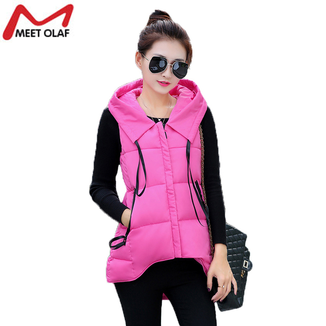 Winter Women Vest Hooded Down Cotton Warm Short Front Long Back Waistcoat Sleeveless Jacket Coat For Female WS64YL
