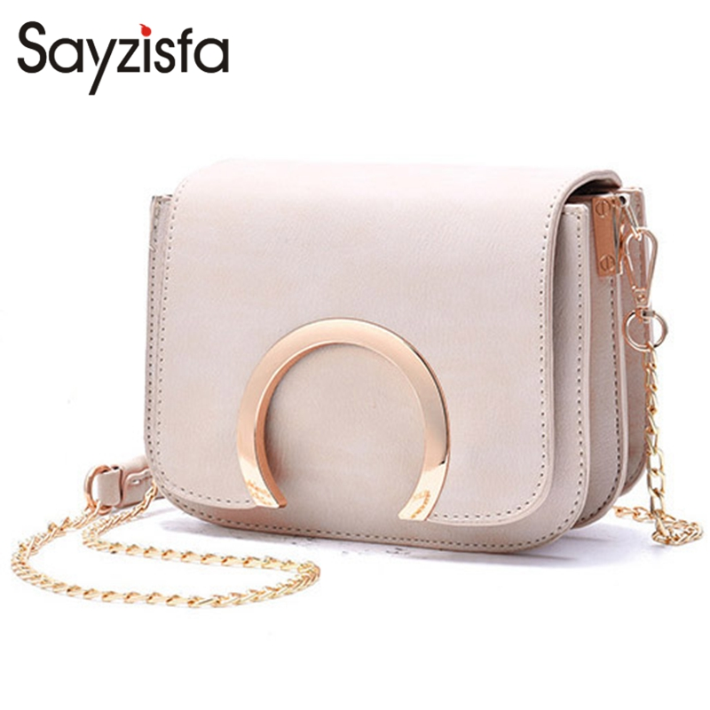 Sayzisfa 2017 New Women messenger bag Leather Fashion small Chains crossbody bag Ladies Handbags shoulder bag Female Bolsas T386 2018 new female bag korean version of the striped shoulder messenger bag small fashion handbags ladies wrist bag