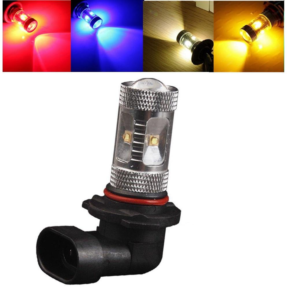 2pcs 9005 HB3 P20D 30W Bulb Fog Lamp Driving Amber Yellow White Blue Red LED Light 12V Back Up Lamp
