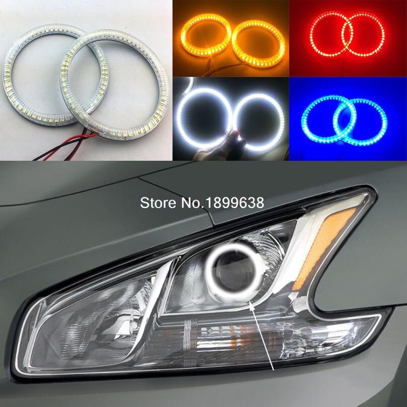 Super bright red blue yellow white 3528 smd led angel eyes halo rings car styling for Nissan Maxima 2010 2011 2012 polaris rzr 900 rzr 1000 xp set led headlight with halo rings angel eyes white red yellow green blue