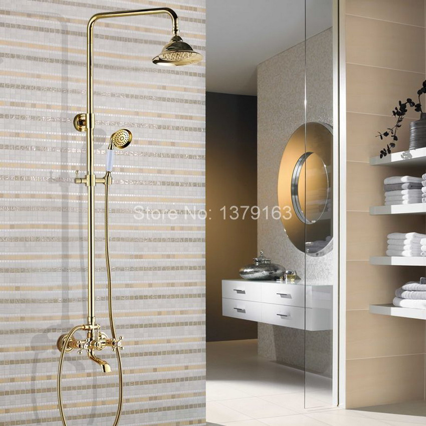 Polished Gold Color Brass Wall Mounted Bathroom Rainfall rain Shower Faucet Set Dual Cross Handle Bath Tub Water tap agf357