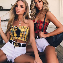 Tie-Up Tube Crop Top Plaid Bustier Sleeveless Top Off Shoulder Crop Ropa Verano Mujer Tank Party Top Punk  Women Summer  70j059 off shoulder lace up crop top