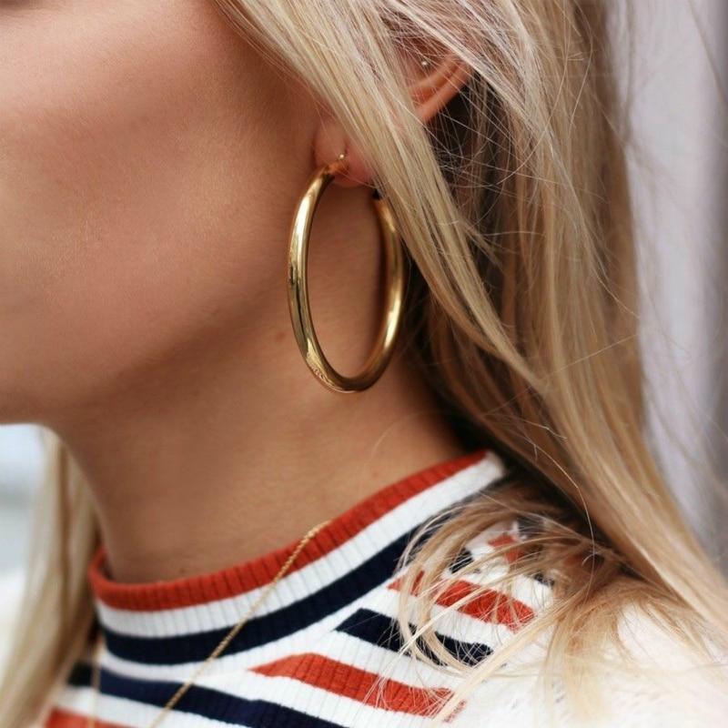 Modestil 2018 Heißer Verkauf Kreis Ohrringe Dicken Runde Metall Dame Ohrring Für Frauen Übertreibung Schmuck Großhandel Hoop Ohrringe Hochzeit Geschenk Duftendes (In) Aroma