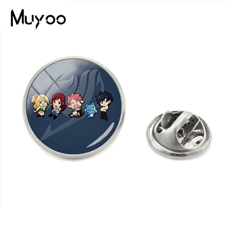 New Fashion Fairy Tail Glass Dome Gothic Jewelry Collar Pins Hand Craft Jewelry Bohemian Fairy Tail Logo Lapel Pins Mens Gifts