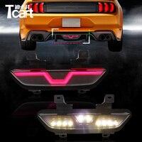 Tcart 1Set Multi functions Tail Brake Reverse Lamp Car Flashing Rear Bumper Fog Light Auto Led Light For Ford Mustang 2017 2018